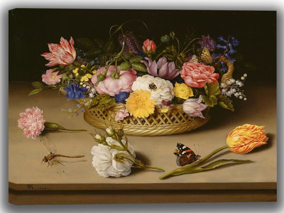 Bosschaert, Ambrosius: Flower Still Life. Fine Art Canvas. Sizes: A4/A3/A2/A1 (004126)